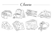 Types of Cheese. Hand drawn Vector