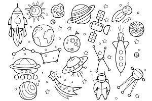 Space Objects in Hand drawn