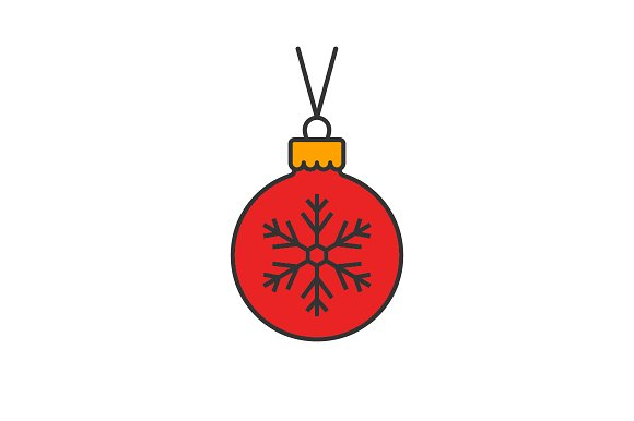 Christmas Ball Flat Line Icon