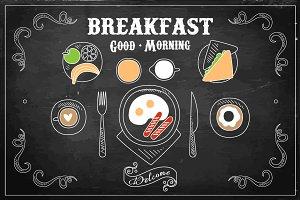 Chalk on blackboard Breakfast Menu