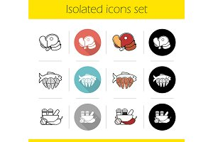 Food categories. 12 icons. Vector
