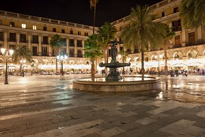 Placa Reial at Night in Barcelona