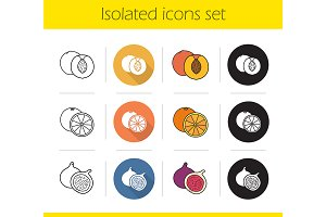 Fruit. 12 icons. Vector