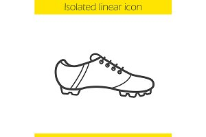 Football boot linear icon. Vector