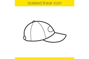 Baseball cap linear icon. Vector