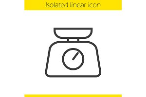 Kitchen food scales icon. Vector