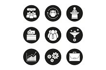 Business. 9 icons set. Vector
