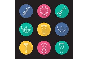 Barber shop. 9 icons. Vector
