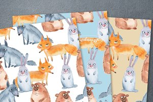 Forest Animals. Watercolor patterns