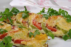 Baked zucchini with tomatoes