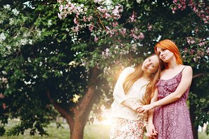 Two Young Pretty Girls Outdoors