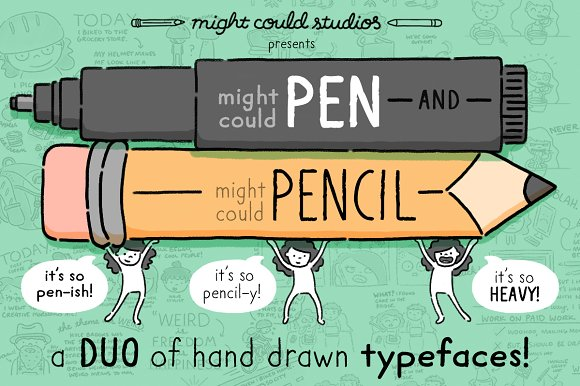 Might Could Pen Pencil Font Duo