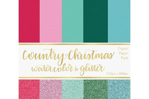 Digital Paper - Country Christmas