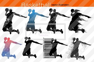 Silhouette of basketball players NBA