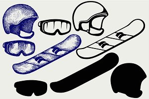 Equipment for snowboarding SVG