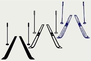 Pair skis SVG