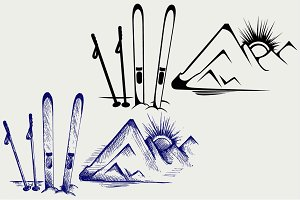 Mountains and ski equipments SVG