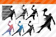 Silhouette of basketball players NBA