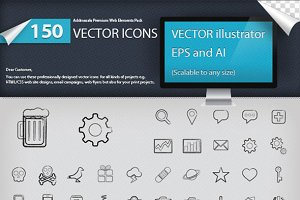 150 Hand Made Icon Set
