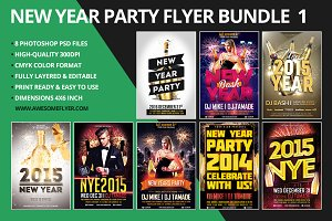 New Year Flyer Template Bundle