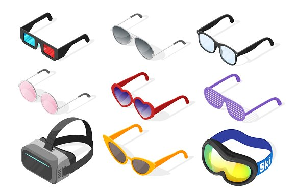 Isometric glasses set in Objects