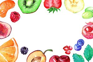 Watercolor fruit berry vector frame