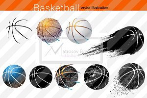 Silhouette of basketball ball NBA