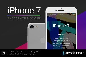 Iphone 7 Mockup Straight White