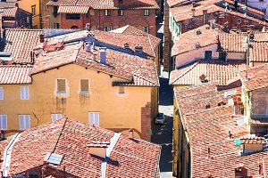 View over italian town Lucca with typical terra-cotta roofs.