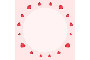 Watercolor heart circle frame