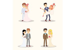 Wedding couple cartoon characters