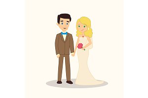 Wedding couple cartoon characters.