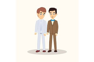 Gay wedding couple in suits.