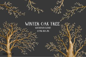 Watercolor Clipart Winter Oak Tree