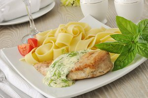 pasta  with chicken and cream sauce