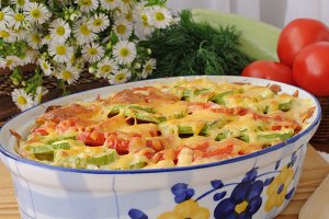 casserole of pasta with zucchini