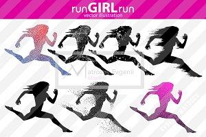 Silhouette running girl. runGIRLrun