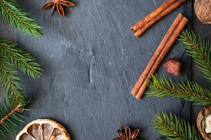 Christmas spices background.