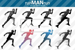Silhouette of running man. runMANrun