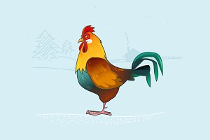 Rooster character illustration