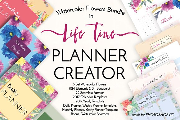 Watercolor Life Time Planner Creator