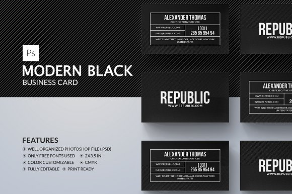 Modern black business card business card templates creative market colourmoves Image collections