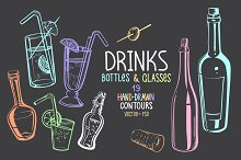 Colored Bottles & Glasses Drawings