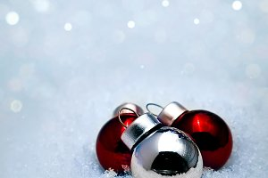 Red ball on the snow