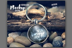 Round keychain on rustic background