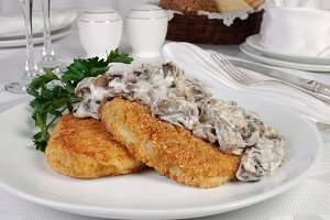 Potato patties with mushrooms