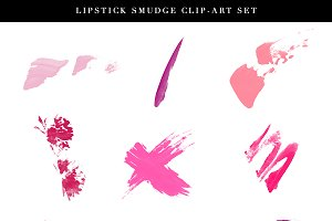 Lipstick Smudge Beauty Clip Art Set