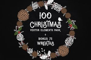 Christmas elements pack -100 vectors