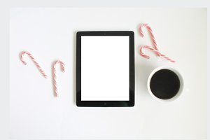Festive Candy Canes with Blank ipad