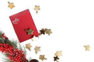 Festive Ornaments + Notepad Flatlay